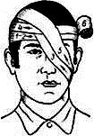 монокулярная повязка на левый глаз