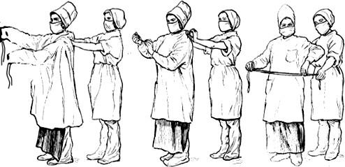 Одевание стерильного халата операционной медицинской сестрой