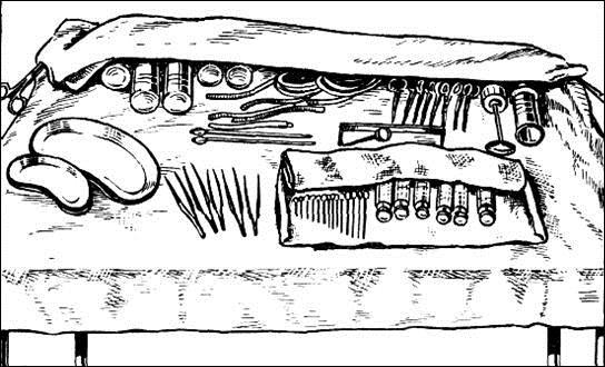 Перевязочный стол с инструментами