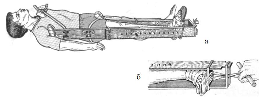 Иммобилизация нижней конечности шиной Дитерихса и вытяжение конечности при помощи шины