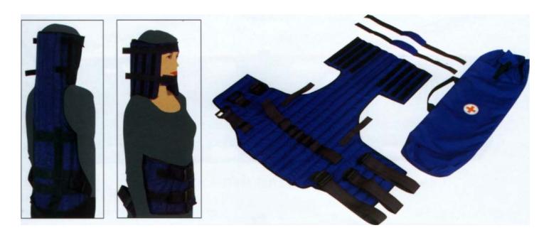Иммобилизация шейного и грудного отделов позвоночника с одновременной фиксацией головы при помощи складной шины УШС