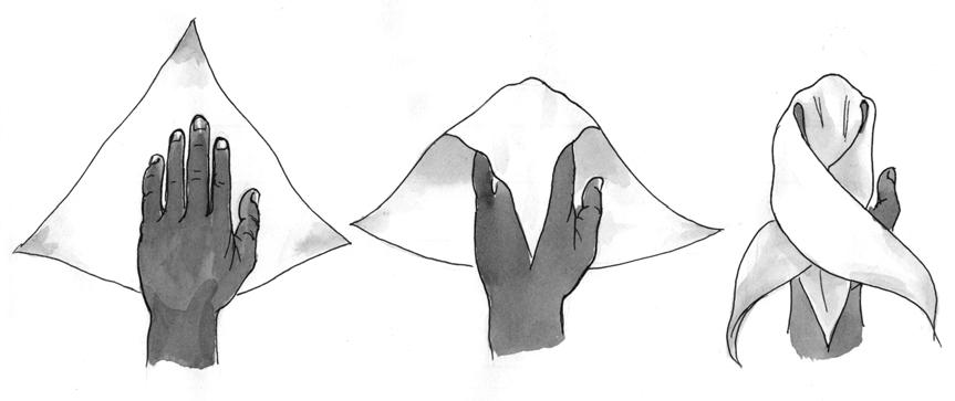 Наложение косыночной повязки на кисть